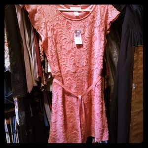 Medium pink lace maternity shirt NWT